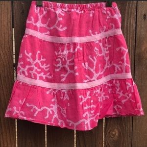 ♻️ Lilly Pulitzer Coral Print Pink & White Skirt